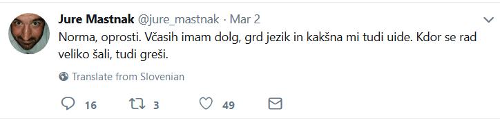 Tvit Jure Mastnak