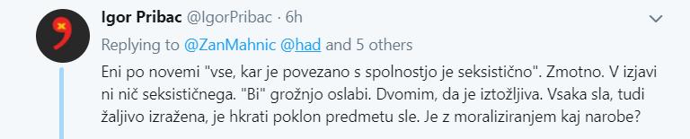 Tvit Igor Pribac